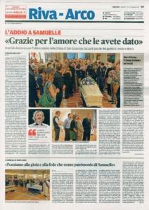 La prima pagina del quotidiano del Trentino in occasione del funerale.