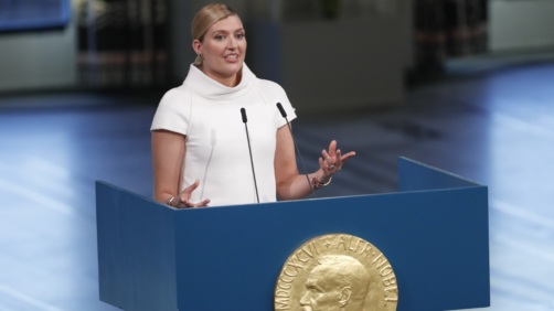 Winners of the Nobel Peace Prize 2017, Beatrice Fihn, the executive of International Campaign to Abolish Nuclear Weapons (ICAN) gives her acceptance speech in Oslo City Hall, Norway, Sunday Dec. 10, 2017. ICAN officially receives the Nobel Peace Prize award during a ceremony Sunday. (Terje Bendiksby/ NTB scanpix via AP)