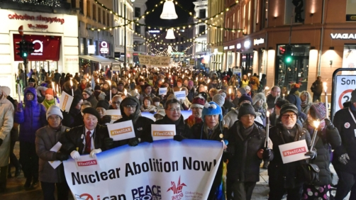 Atomic bomb survivors join others in a parade in Oslo after the Nobel Peace Prize award ceremony on Dec. 10, 2017. (Kyodo) ==Kyodo