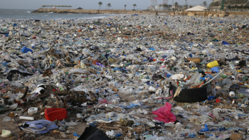 Rifiuti su una spiaggia libanese