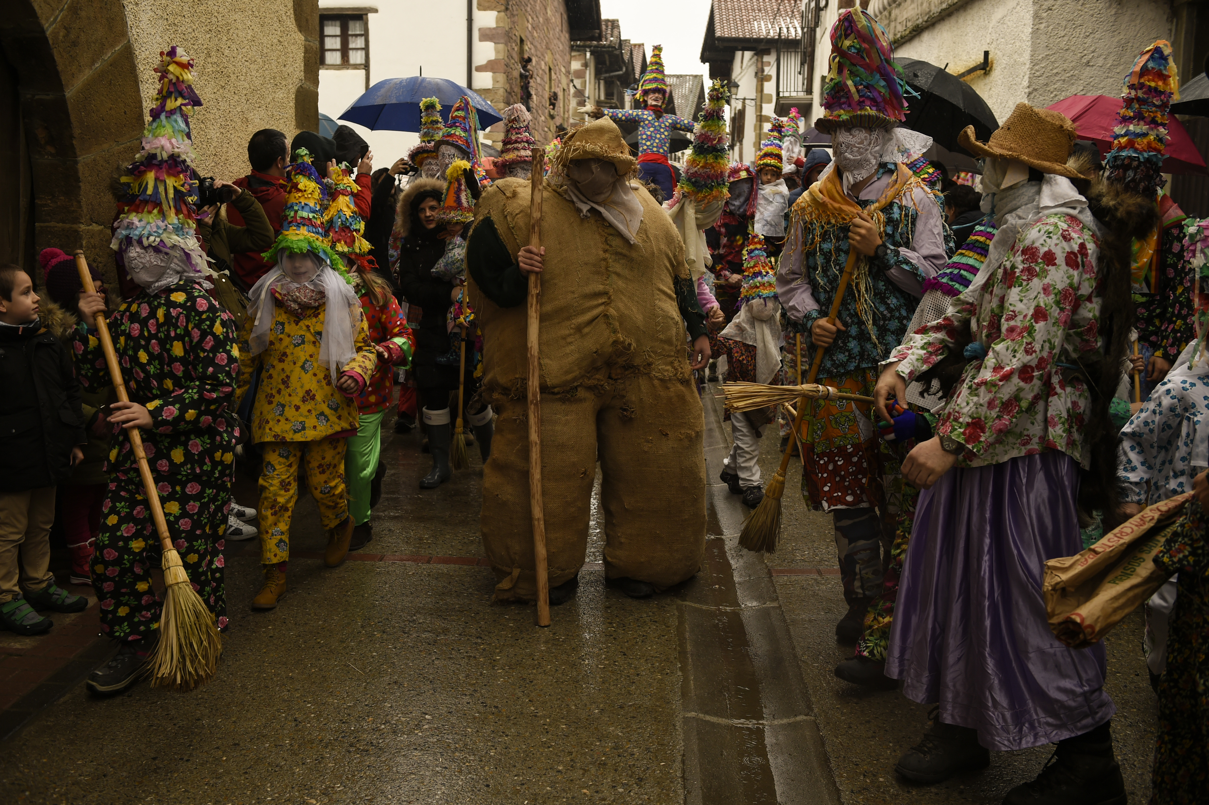 Rural carnival of Lanz is held on February 11, 2018 in Lantz, Spain. The carnival is a great tradition, where the forces of evil and good face-off in a symbolic battle in which the thirst of justice mobilizes the popular ires. Several prominent figures accompany him in the parade: Ziripot, easy-going man and chubby person done based on stuffed sacks of ferns and hay, who scarcely can be kept in foot; the Zaldiko, horse chases fierceness that rushes forth at him up to it throwing at the soil; the Arotzak carry hammers and pliers, and run after the Zaldiko to shoe it, and finally the Txatxos, which sheathed in skins of animals and armed with sticks and brooms, shout while scourge to all the presents. (Photo by Oscar Zubiri / Pacific Press/Sipa USA)(Sipa via AP Images)
