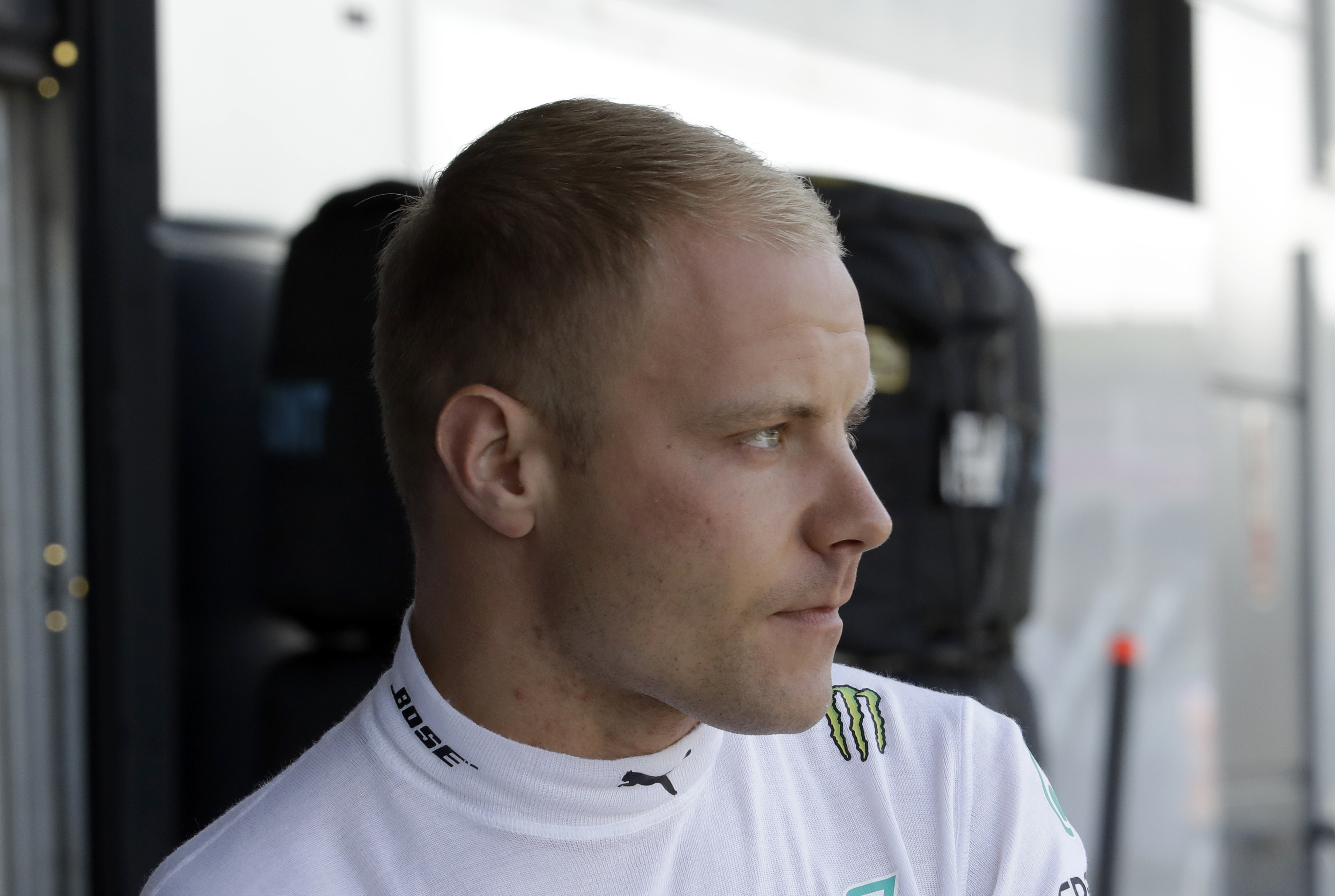 Mercedes driver Valtteri Bottas of Finland waits for the second free practice at the Silverstone racetrack, Silverstone, England, Friday, July 6, 2018. The British Formula One Grand Prix will be held on Sunday July 8. (AP Photo/Luca Bruno)