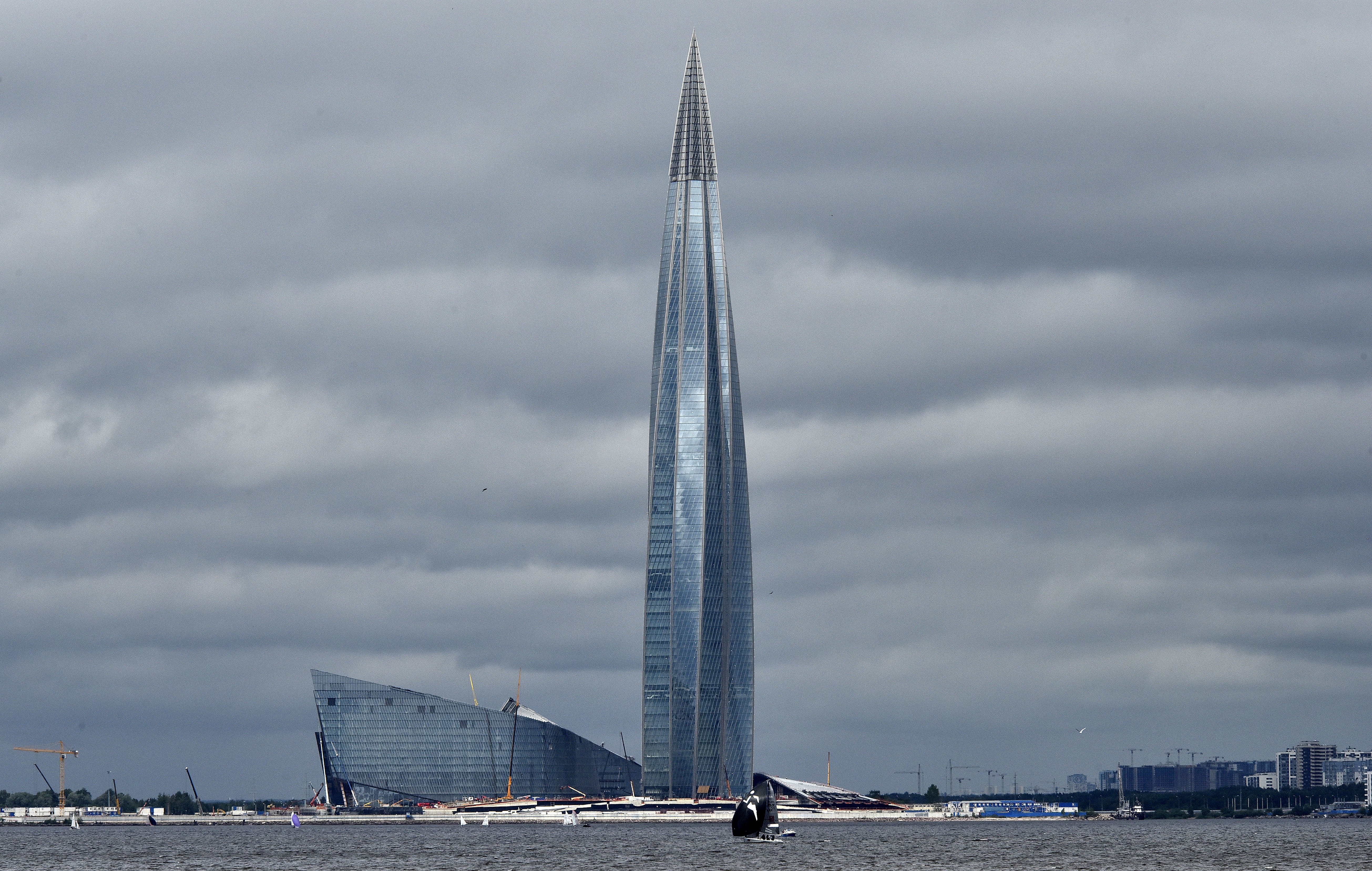 The new Lakhta Center is pictured in St. Petersburg, Russia, Sunday, July 8, 2018. The new headquarter of Russian energy company Gazprom is with 462 meters the tallest building in Europe. (AP Photo/Martin Meissner)