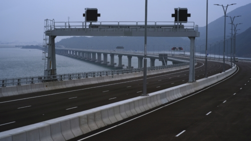 The Hong Kong-Zhuhai-Macau Bridge is seen during a press tour in Hong Kong Friday, Oct. 19, 2018. The Hong Kong-Zhuhai-Macau Bridge, the world's longest cross-sea project, which has a total length of 55 kilometers, will have opening ceremeny in Zhuhai on 23 Oct. (AP Photo/Vincent Yu)