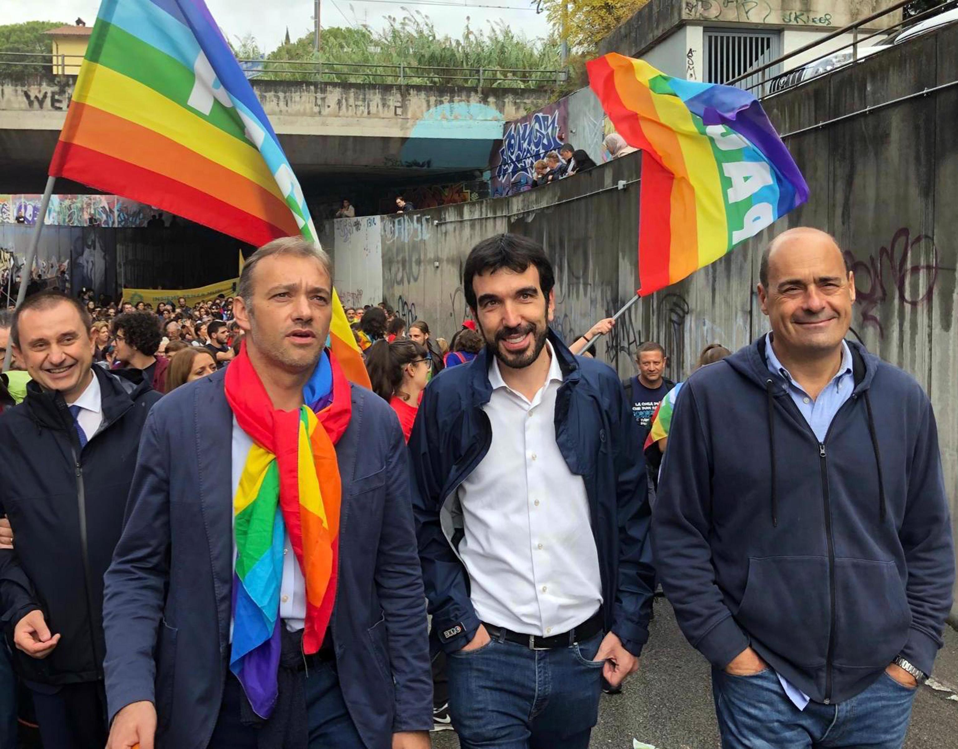 Da sinistra: Ettore Rosato, Matteo Richetti, il segretario del Partito Democratico Maurizio Martina e il presidente della Regione Lazio, Nicola Zingaretti, partecipano alla