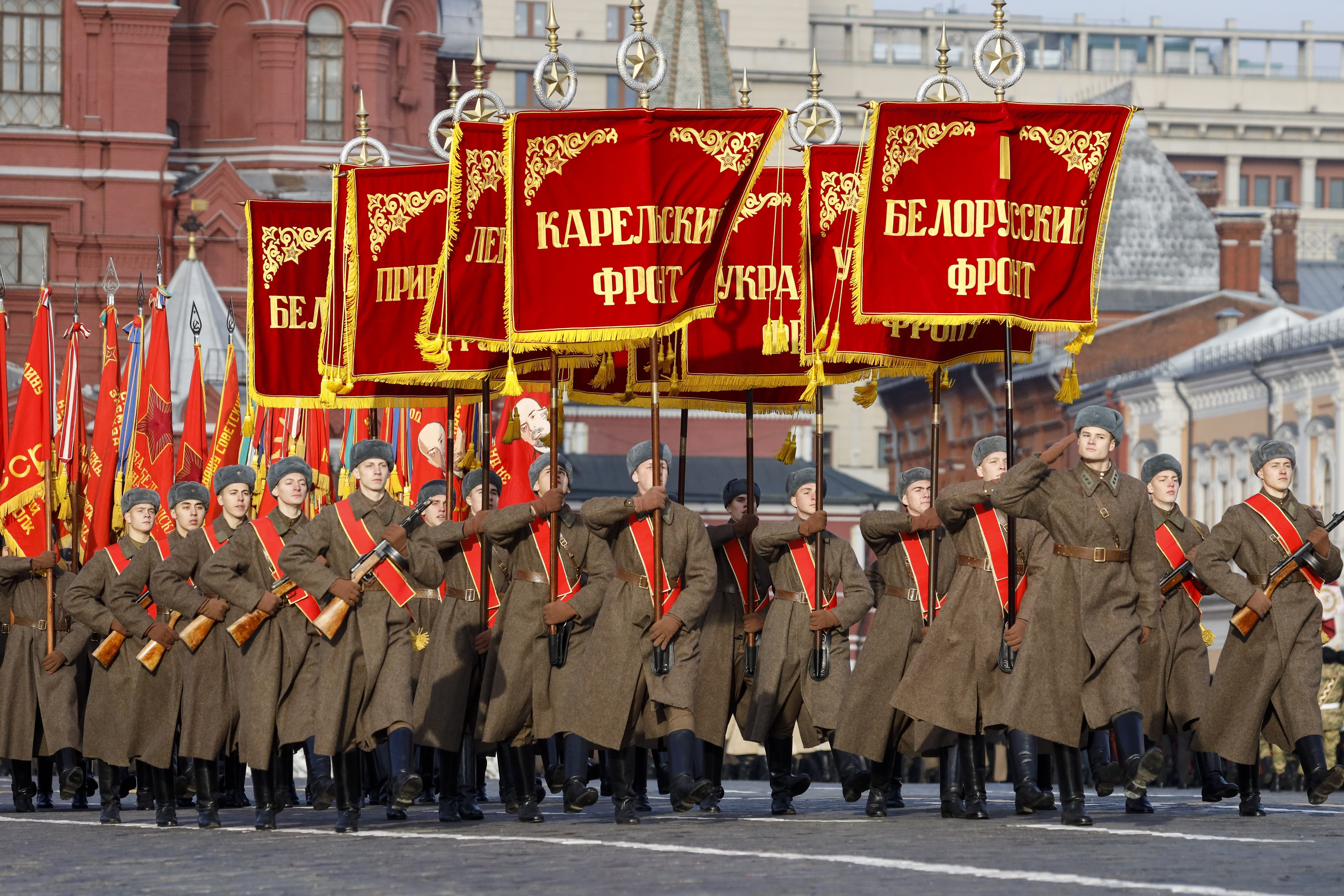 Russian soldiers dressed in Red Army World War II uniforms march during the Nov. 7 parade in Red Square, in Moscow, Russia, Wednesday, Nov. 7, 2018. The event marked the 77th anniversary of a World War II historic parade in Red Square and honored the participants in the Nov. 7, 1941 parade who headed directly to the front lines to defend Moscow from the Nazi forces. (AP Photo/Alexander Zemlianichenko)