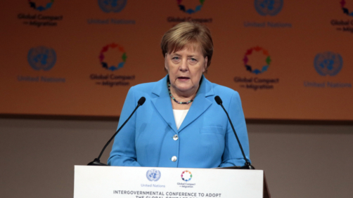 German Chancellor Angela Merkel addresses delegates during the opening session of a UN Migration Conference in Marrakech, Morocco, Monday, Dec.10, 2018. Top U.N. officials and government leaders from about 150 countries are uniting around an agreement on migration, while finding themselves on the defensive about the non-binding deal amid criticism and a walkout from the United States and some other countries. (AP Photo/Mosa'ab Elshamy)