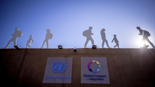 10 December 2018, Morocco, Marrakesch: Displays with silhouettes of migrants stand on the grounds of the UN Conference on the Migration Pact. Chancellor Merkel (CDU) has praised the UN Migration Pact as a milestone in international migration policy. Photo by: Michael Kappeler/picture-alliance/dpa/AP Images