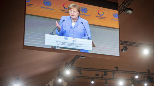 10 December 2018, Morocco, Marrakesch: Chancellor Angela Merkel (CDU) speaks at the UN Conference on the Migration Pact. Chancellor Angela Merkel (CDU) has praised the UN Migration Pact as a milestone in international migration policy. Photo by: Michael Kappeler/picture-alliance/dpa/AP Images