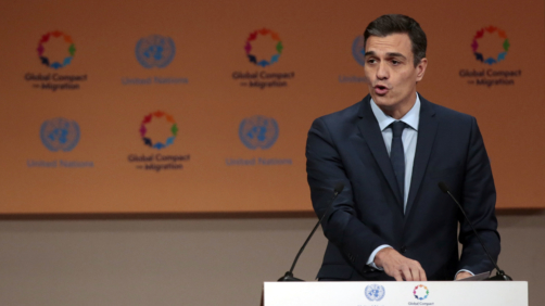 Spain's Prime Minister Pedro Sanchez addresses delegates during the opening session of a UN Migration Conference in Marrakech, Morocco, Monday, Dec.10, 2018. Top U.N. officials and government leaders from about 150 countries are uniting around an agreement on migration, while finding themselves on the defensive about the non-binding deal amid criticism and a walkout from the United States and some other countries. (AP Photo/Mosa'ab Elshamy)