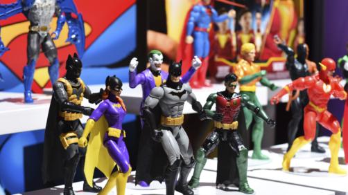 Mattel, in partnership with Warner Bros., introduces the newest Batman line to celebrate the 80th anniversary at the New York Toy Fair, Friday, Feb. 15, 2019. (Diane Bondareff/AP Images for Mattel)