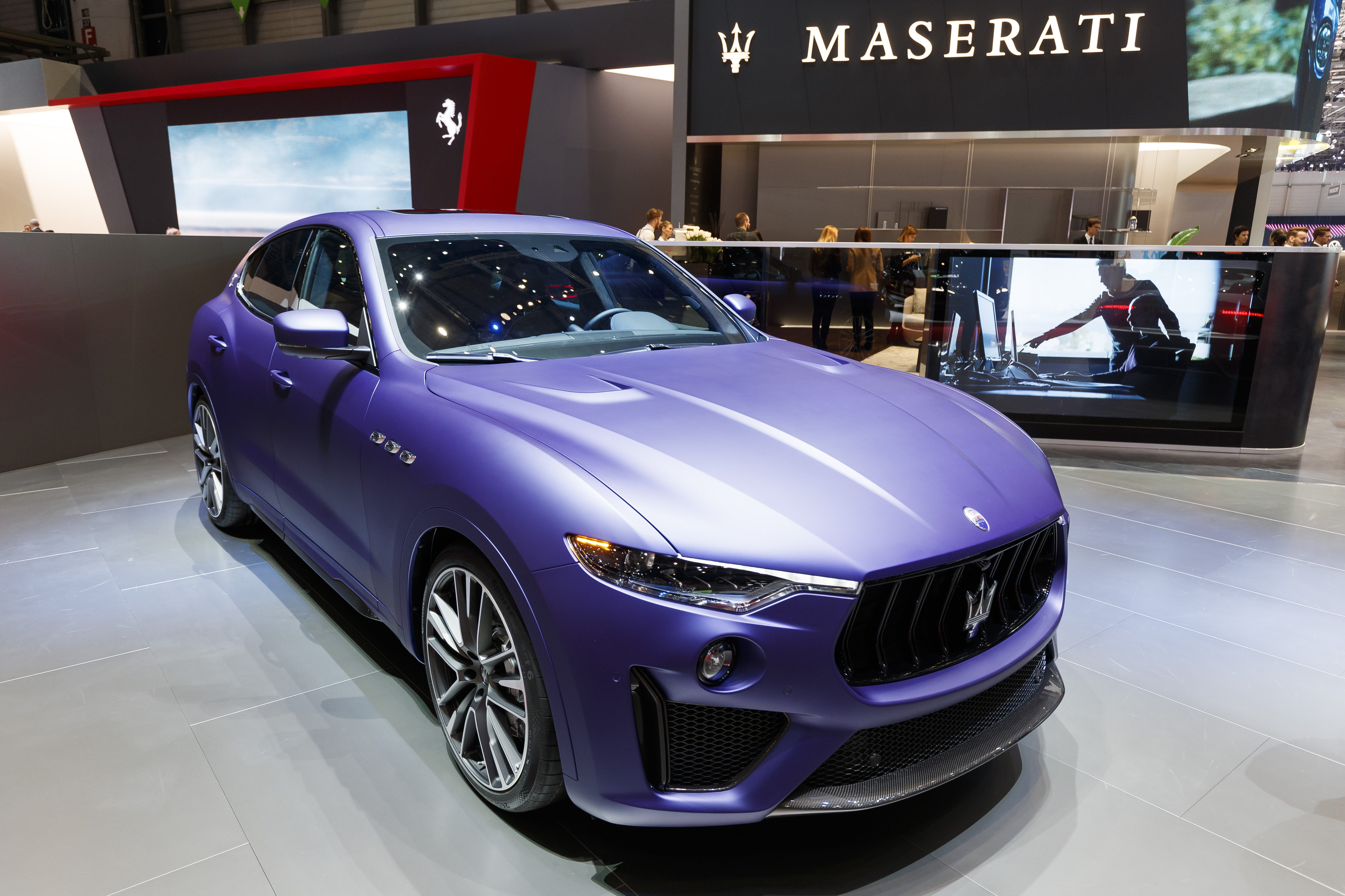 The new Maserati Levante Trofeo is presented during the press day at the 89th Geneva International Motor Show in Geneva, Switzerland, Wednesday, March 6, 2019. The Motor Show will open its gates to the public from 7 to 17 March presenting more than 180 exhibitors and more than 100 world and European premieres. (Cyril Zingaro/Keystone via AP)