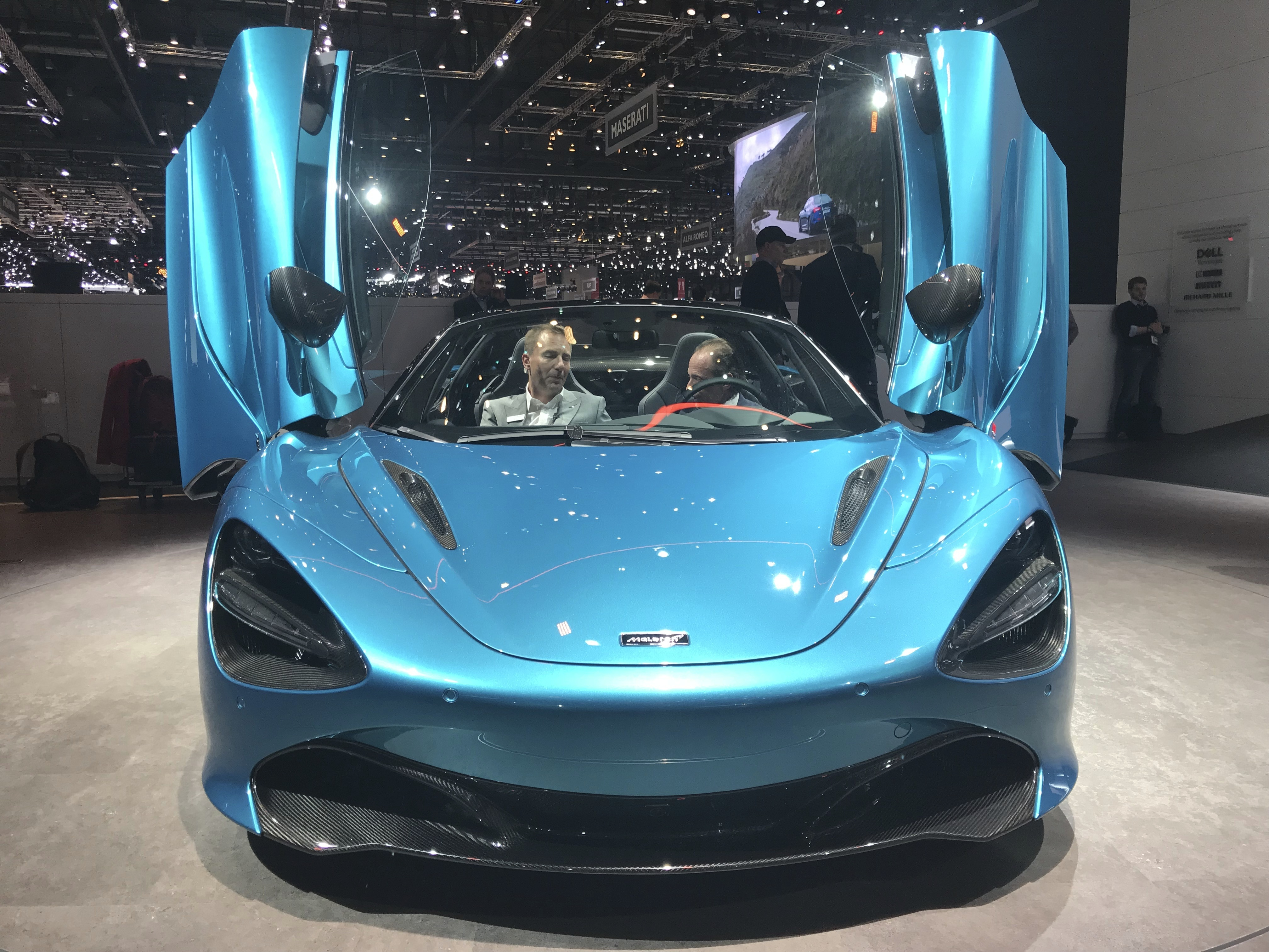 The New Mclaren 720s Spider is presented during the press day at the 89th Geneva International Motor Show in Geneva, Switzerland, Wednesday, March 6, 2019. The Motor Show will open its gates to the public from 7 to 17 March presenting more than 180 exhibitors and more than 100 world and European premieres. (AP Photo/David McHugh)