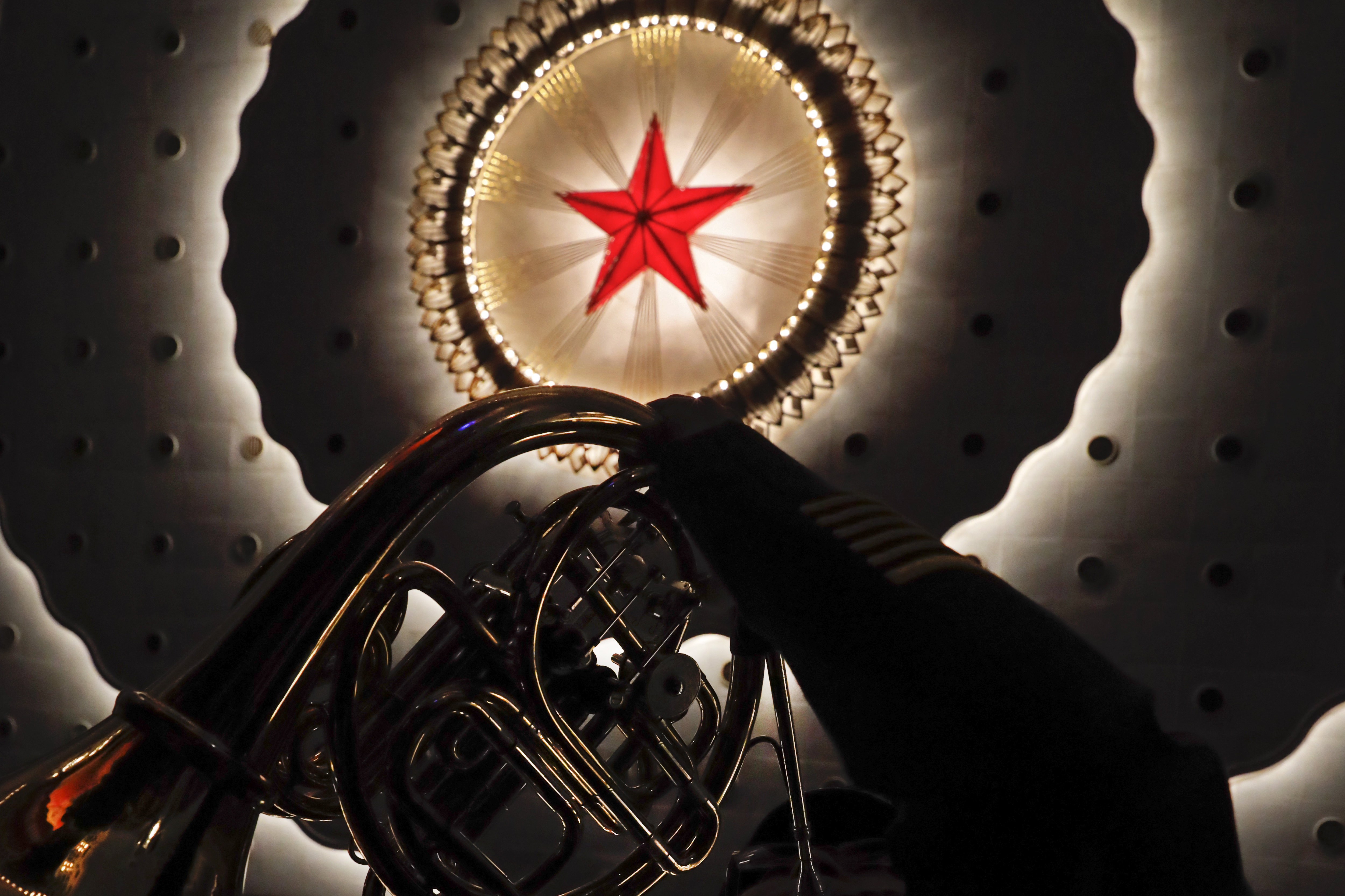 A military band member rehearses ahead of the closing session of the Chinese People's Political Consultative Conference (CPPCC) at the Great Hall of the People in Beijing, Wednesday, March 13, 2019. (AP Photo/Andy Wong)