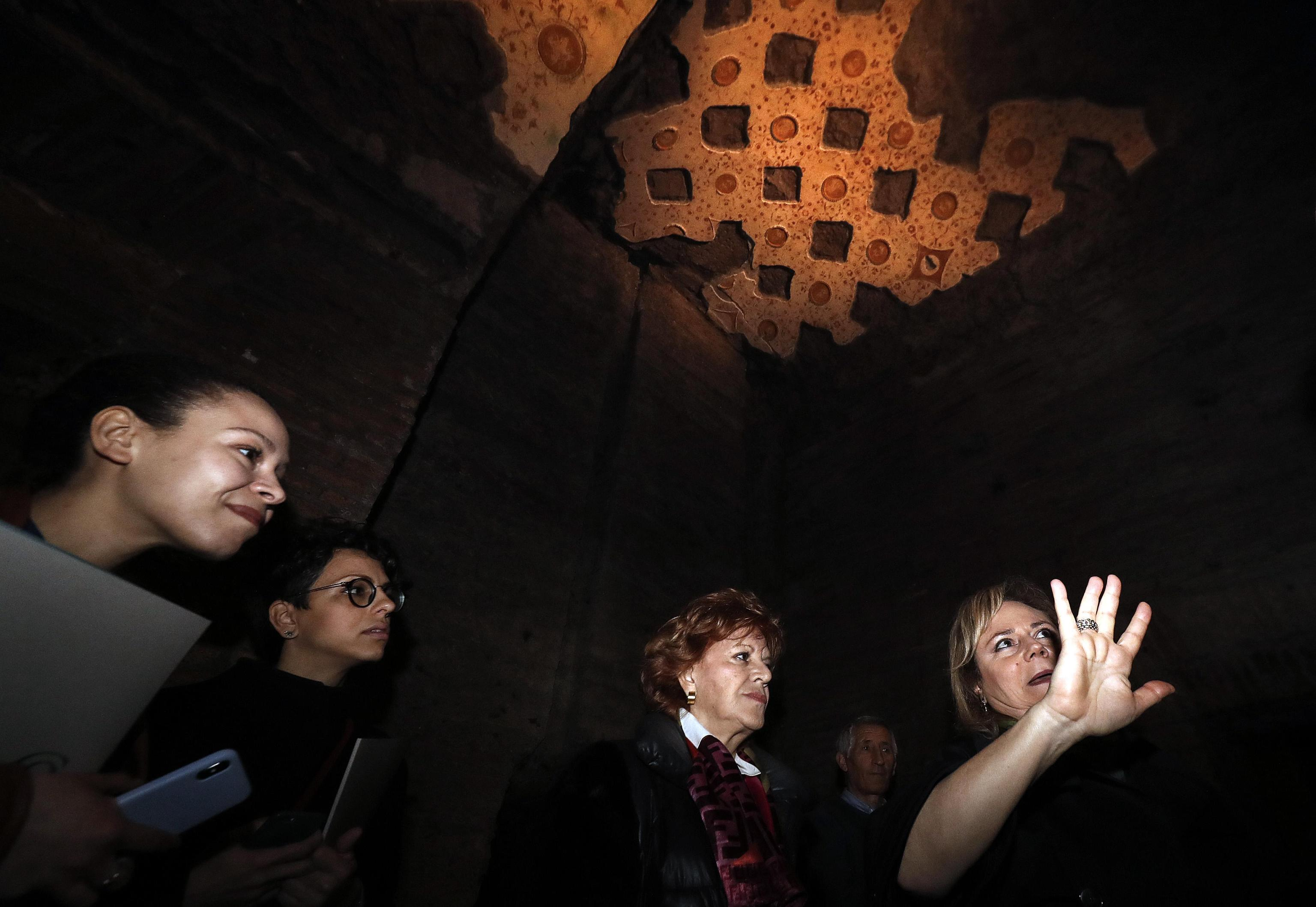 Alfonsina Russo (L), director of the Colosseum Archeological Park, during the presentation of the 'Domus Transitoria', the first Nero's palace on the Palatine Hill, Colosseum Archeological Park, Rome, Italy, 11 April 2019. ANSA/RICCARDO ANTIMIANI