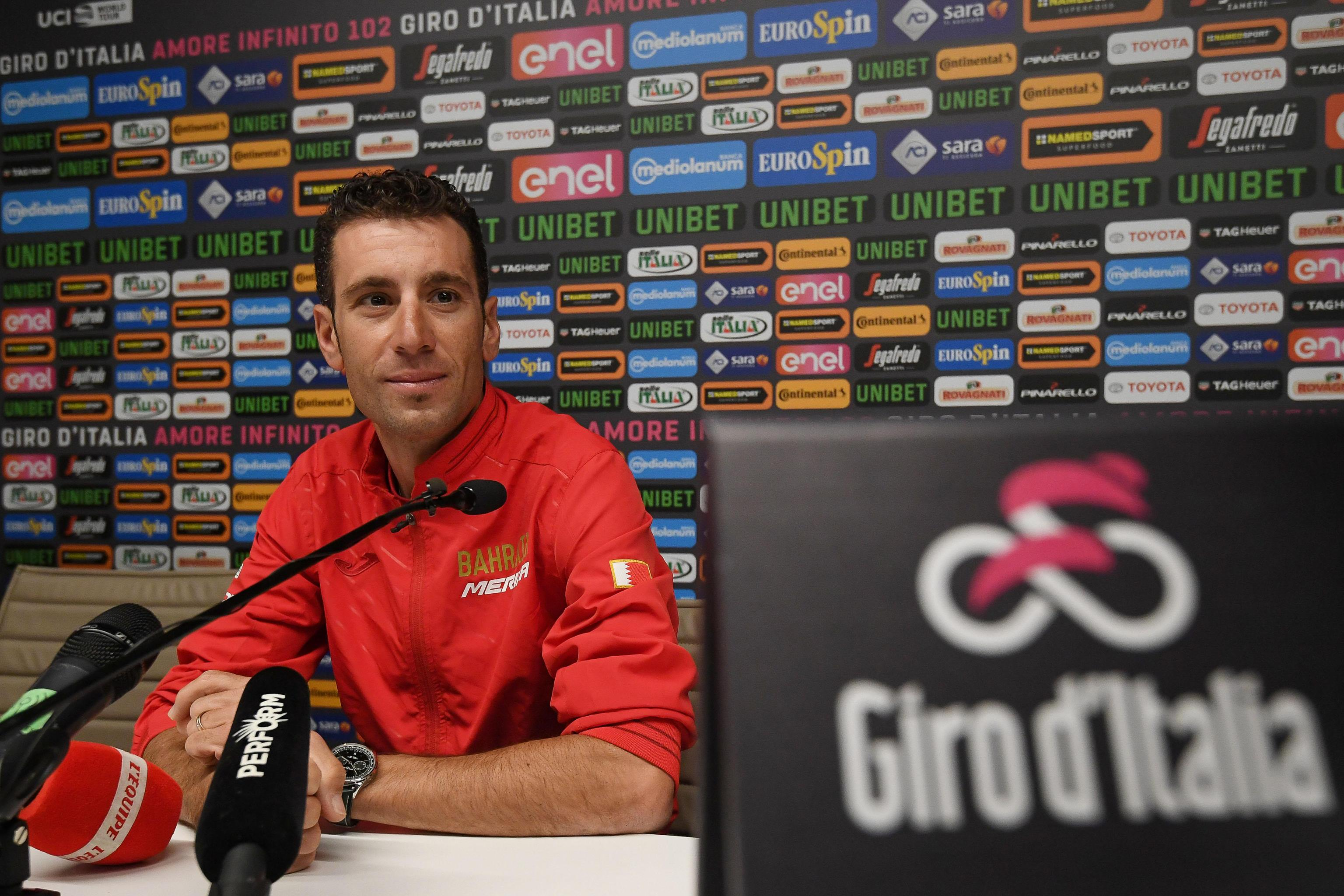 Italian rider Vincenzo Nibali of Bahrain - Merida, during a press conference on the Giro d'Italia 2019, Bologna, Italy 9 May 2019. The 102th edition of the Giro d'Italia will start in Bologna on 11 May 2019. ANSA/ALESSANDRO DI MEO