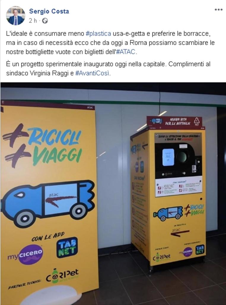 A Roma biglietti metro riciclando bottiglie di plastica