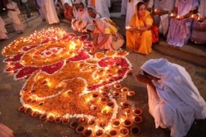 Indian widows celebrate Diwali festival in Vrindavan