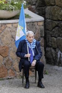 Alberto Sed durante la commemorazione alle Fosse Ardeatine per il 25 Aprile 2018.
