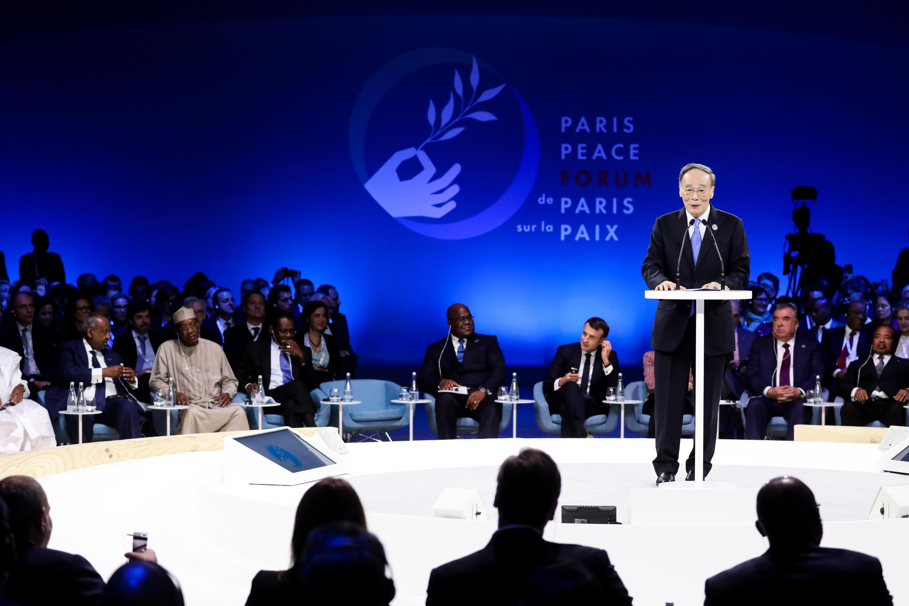 epa07990257 China's Vice President Wang Qishan delivers a speech during the plenary session of the Paris Peace Forum, in Paris, France, 12 November 2019. The international event on global governance issues and multilateralism takes place on 12 to 13 November in Paris.  EPA/LUDOVIC MARIN / POOL MAXPPP OUT