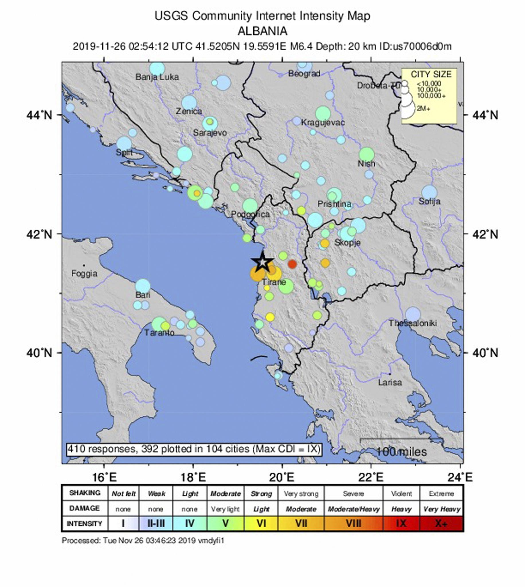 epa08025756 A handout intensity map made available by the United States Geological Survey shows the location of a magnitude 6.4 earthquake which struck at 3:54 am local time, at a depth of 20km, around 30 km from the capital city of Tirana, Albania, 26 November 2019. There were no immediate reports of damage or casualties.  EPA/USGS / HANDOUT  HANDOUT EDITORIAL USE ONLY/NO SALES