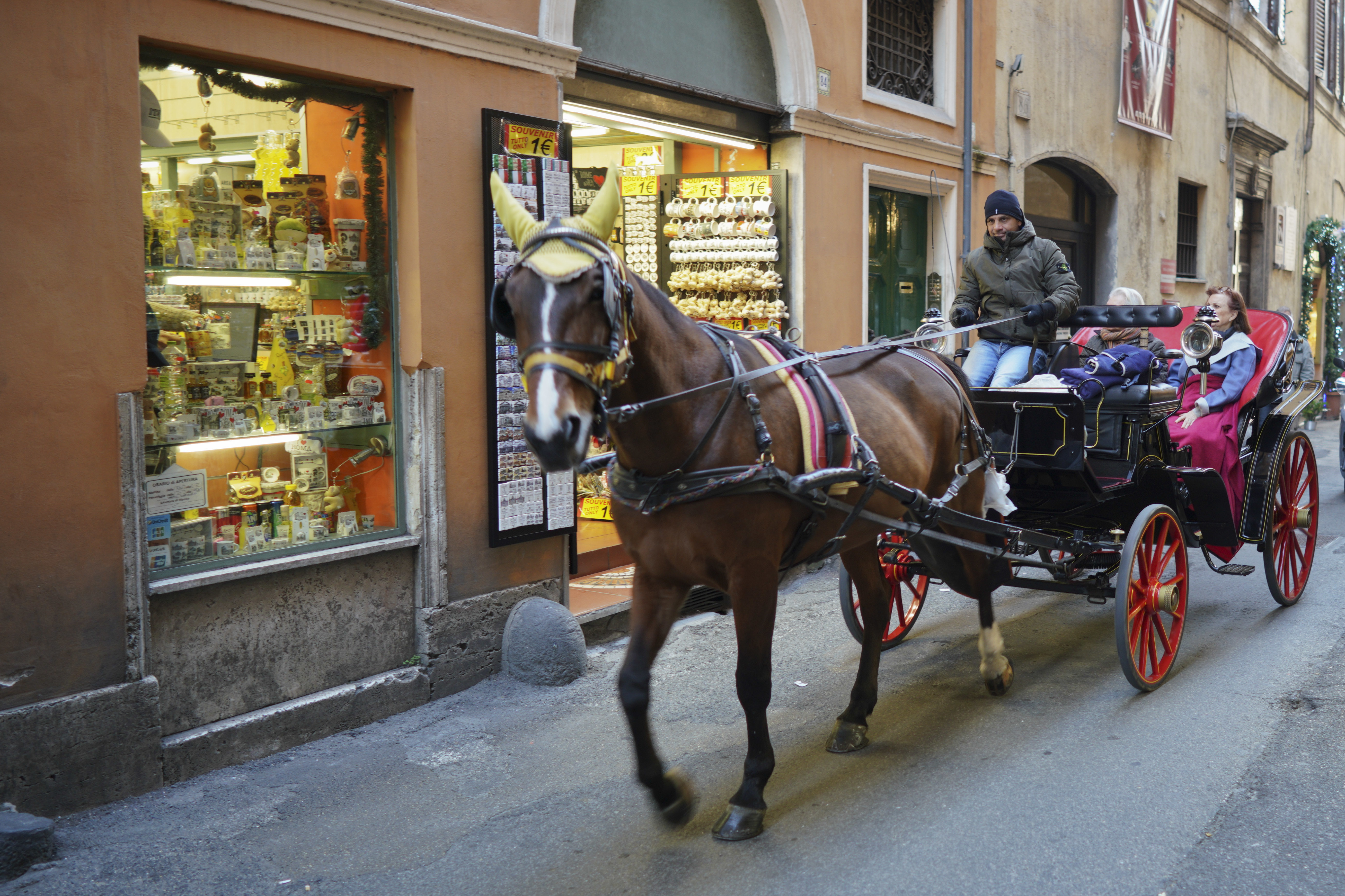 A horse pulls a botticella, a traditional Roman touristic horse-driven carriage, along an alley in downtown Rome, Monday, Jan. 7, 2019. (AP Photo/Andrew Medichini)