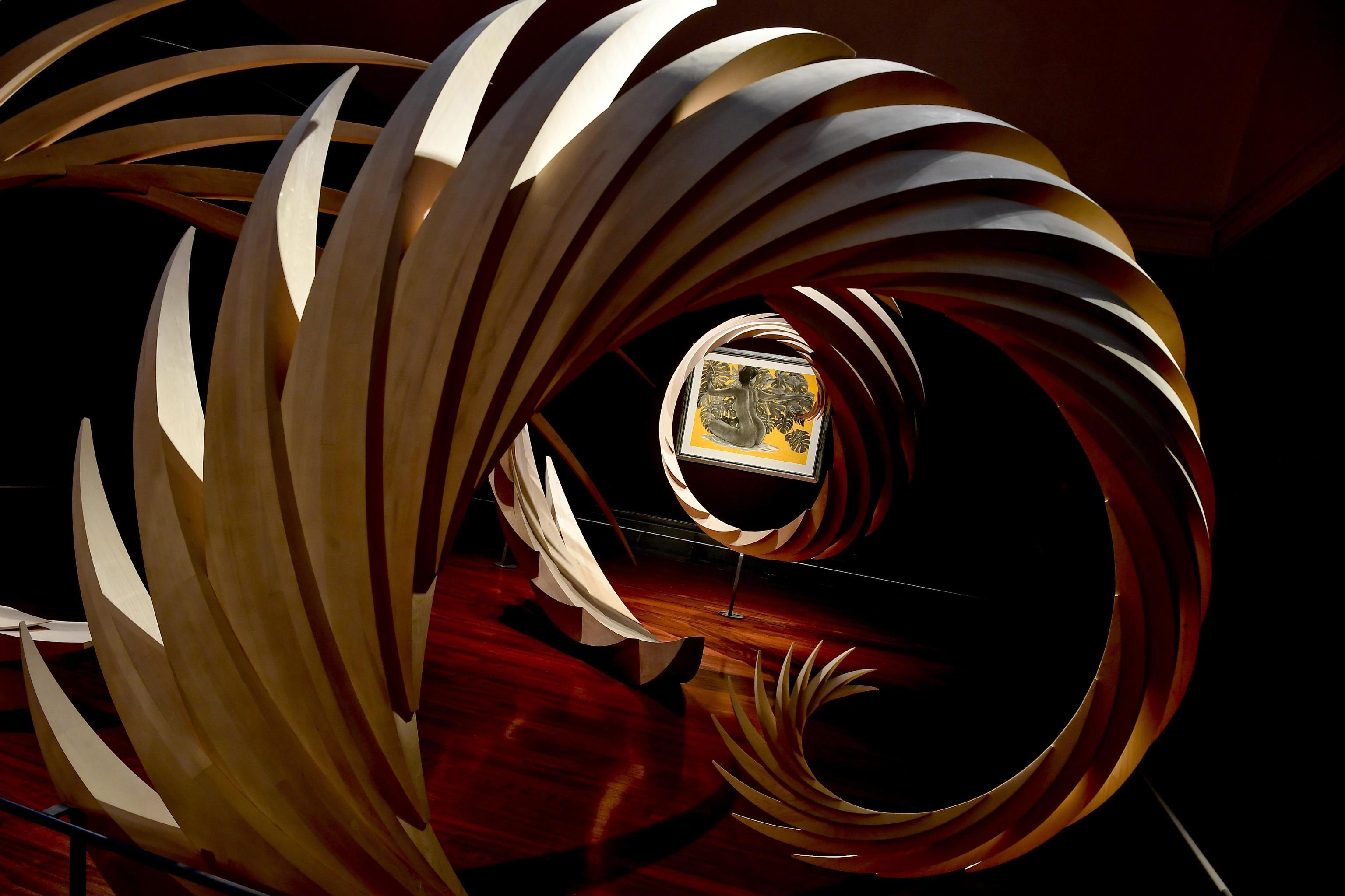 La mostra con  quattrocento opere - sculture, disegni, maquette di  Santiago Calatrava, architetto, ingegnere, pittore, scultore, disegnatore, artista a tutto tondo in mosrra a Napoli nel Museo e Real Bosco di Capodimonte, 5 dicembre 2019  ANSA / CIRO FUSCO