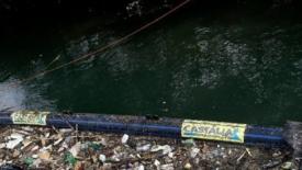 Il fiume Tevere e la barriera antiplastica