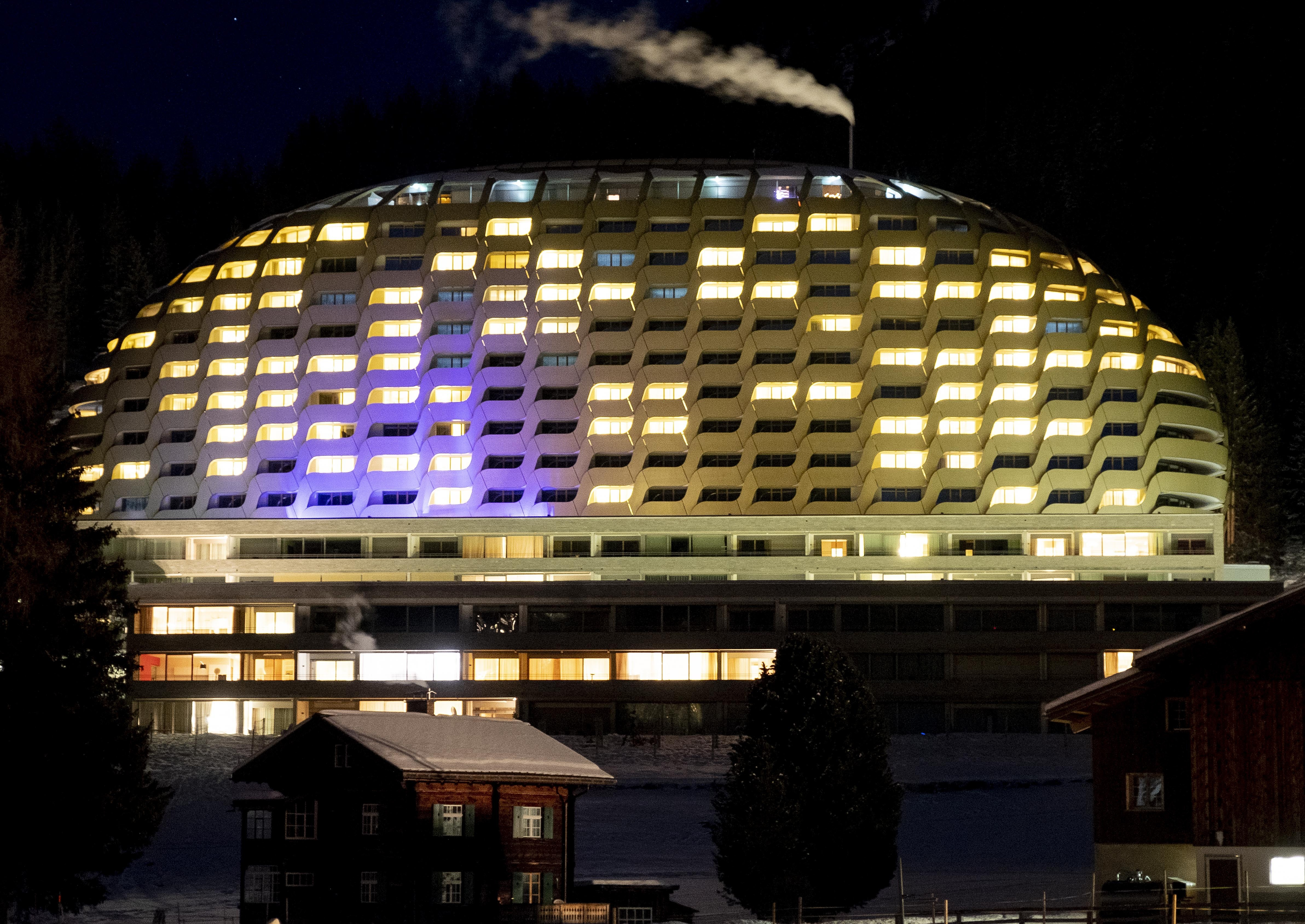 The hotel Intercontinental is seen in Davos, Switzerland, Monday, Jan. 20, 2020.  US President Donald Trump is due to stay at the hotel for one night during his two-days visit to the World Economic Forum. The World Economic Forum will start on Tuesday. (AP Photo/Michael Probst)
