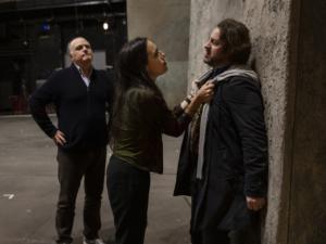 Prove Vespri, la regista Valentina Carrasco con John Osborn e Roberto Frontali, ph Yasuko Kageyama