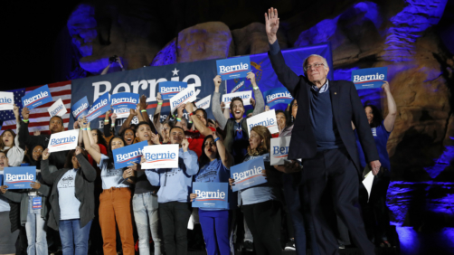 Democratic presidential candidate Sen. Bernie Sanders, I-Vt., walks onstage to speak at a campaign event at Springs Preserve in Las Vegas, Friday, Feb. 21, 2020. (AP Photo/Patrick Semansky)