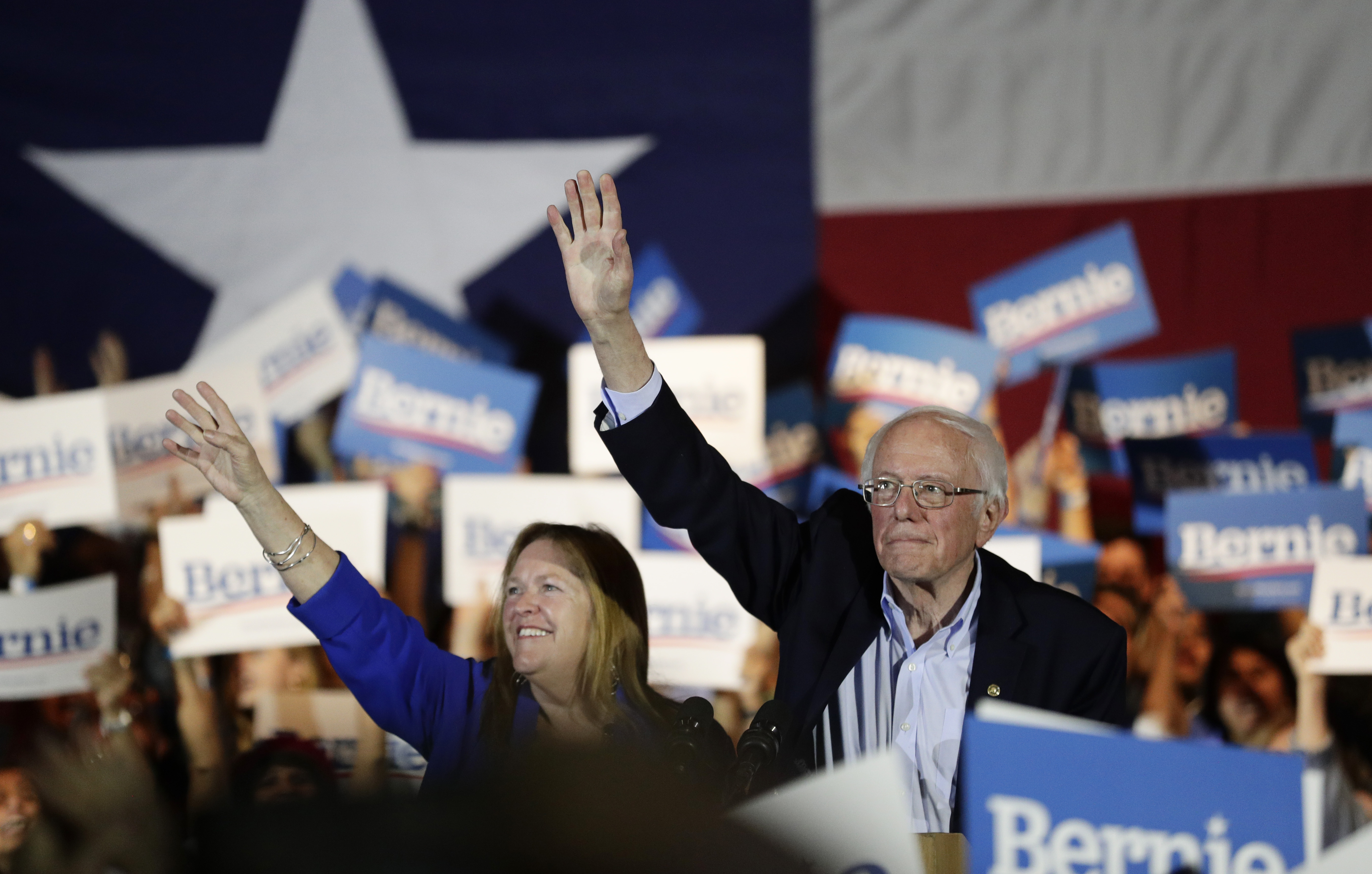 Democratic presidential candidate Sen. Bernie Sanders, I-Vt., right, with his wife Jane, attends a campaign event in San Antonio, Saturday, Feb. 22, 2020. (AP Photo/Eric Gay)
