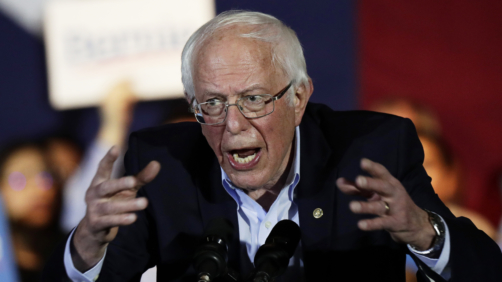 Democratic presidential candidate Sen. Bernie Sanders, I-Vt., speaks during a campaign event in San Antonio, Saturday, Feb. 22, 2020. (AP Photo/Eric Gay)