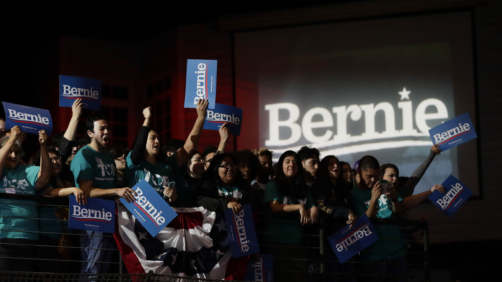 Supporters of Democratic presidential candidate Sen. Bernie Sanders, I-Vt., cheer during a campaign event in San Antonio, Saturday, Feb. 22, 2020. (AP Photo/Eric Gay)