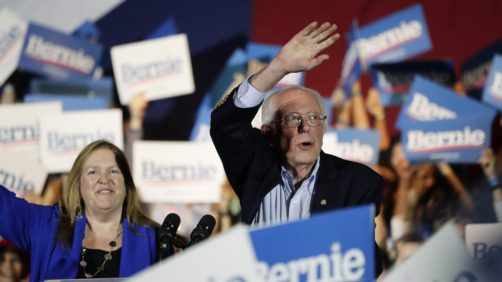 Democratic presidential candidate Sen. Bernie Sanders, I-Vt., right, with his wife Jane, speaks during a campaign event in San Antonio, Saturday, Feb. 22, 2020. (AP Photo/Eric Gay)