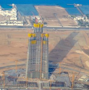 La Torre di Gedda in costruzione.