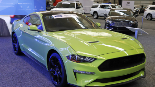 This is a 2020 Ford Mustang Ecoboost Coupe on display at the 2020 Pittsburgh International Auto Show Thursday, Feb.13, 2020 in Pittsburgh. (AP Photo/Gene J. Puskar)