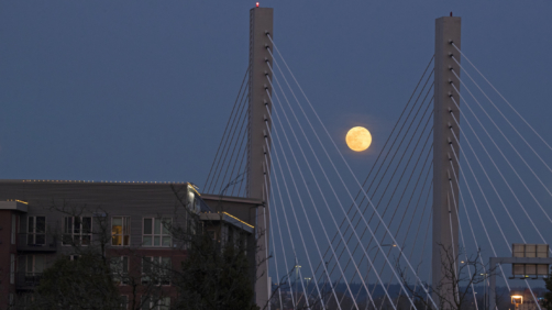 The so-called pink supermoon rises above the Highway 509 bridge over the Thea Foss Waterway, Tuesday, April 7, 2020, in Tacoma, Wash. April's full moon coincides with it being the closest to earth during its orbit in the year 2020, but the moon is only called pink due to it appearing each year around the same time as the blooming of a wildflower native to eastern North America. (AP Photo/Ted S. Warren)