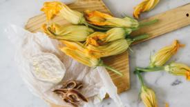 Tortino filante con fiori di zucca e alici