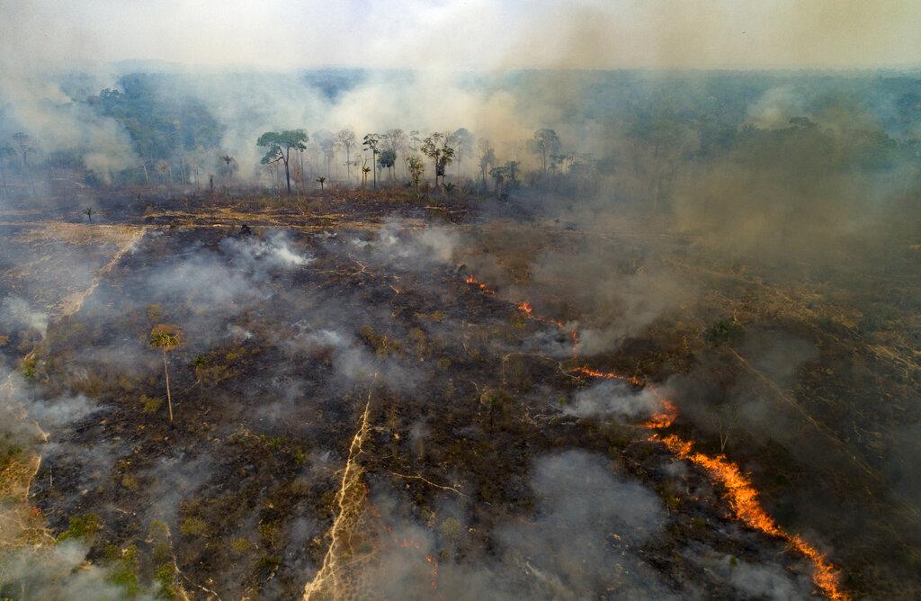 Il fuoco brucia la terra deforestata dagli agricoltori di Novo Progresso in Brasile. 23 agosto 2020 (AP Photo/Andre Penner)