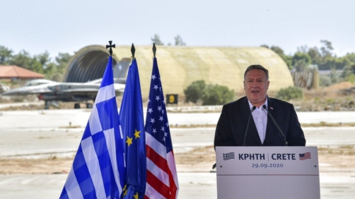 US Secretary of State Mike Pompeo delivers a speech during his visit at the Naval Support Activity base at Souda, on the Greek island of Crete, Tuesday, Sept. 29, 2020. Pompeo visited a U.S. naval base at Souda Bay on the southern Greek island of Crete Tuesday, ahead of a meeting with Greece's prime minister on the second day of his trip to the country. (Aris Messinis/Pool viaAP)