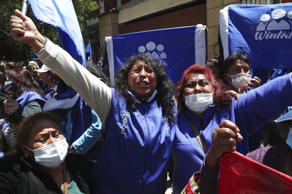 Supporter presidente Arce. (AP Photo/Martin Mejia)