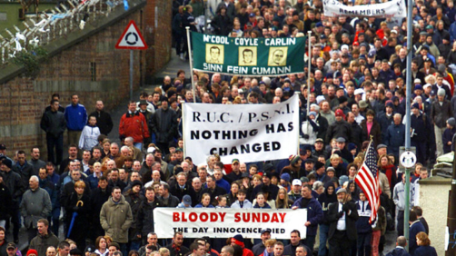 Thousands of people march in the 30th anniversary rally of Bloody Sunday in Londonderry, northern Ireland, Sunday, Feb. 3, 2002. (AP Photo/Peter Morrison)