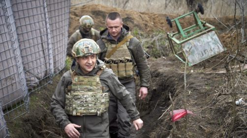 Ukrainian President Volodymyr Zelenskyy visits the war-hit Donbas region, eastern Ukraine, Friday, April 9, 2021. Ukraine's president is visiting the area of conflict in his country's east amid an escalation of tensions that has raised fears of a resumption of large-scale hostilities. (Ukrainian Presidential Press Office via AP)