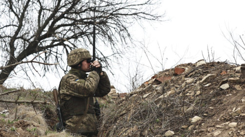 A Ukrainian soldier is seen at fighting positions on the line of separation from pro-Russian rebels near Donetsk, Ukraine, Monday, April 12, 2021. Ukraine's President Volodymyr Zelenskyy has requested to speak to Russian President Vladimir Putin about the Russian troop buildup along the Russian-Ukrainian border and the rising tensions in eastern Ukraine. But the request has been left unanswered so far, Zelenskyy's spokeswoman told The Associated Press on Monday. (AP Photo)