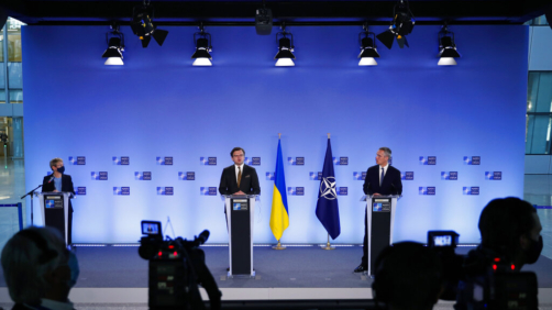 NATO Secretary General Jens Stoltenberg, right, and Ukraine's Foreign Minister Dmytro Kuleba participate in a media conference at NATO headquarters in Brussels, Tuesday, April 13, 2021. NATO Secretary General Jens Stoltenberg and Ukrainian Foreign Minister Dmytro Kuleba met Tuesday to discuss Russia's troop buildup along the frontier with Ukraine. (AP Photo/Francisco Seco, Pool)