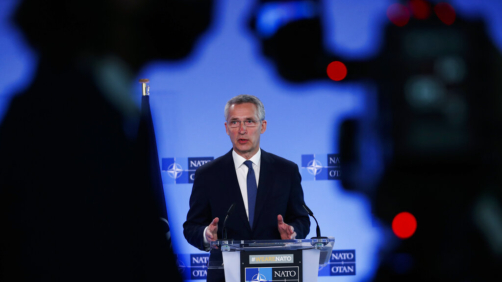 NATO Secretary General Jens Stoltenberg speaks during a media conference at NATO headquarters in Brussels, Tuesday, April 13, 2021. NATO Secretary General Jens Stoltenberg and Ukrainian Foreign Minister Dmytro Kuleba met Tuesday to discuss Russia's troop buildup along the frontier with Ukraine. (AP Photo/Francisco Seco, Pool)