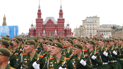 Russian military cadets march toward Red Square during the Victory Day military parade in Moscow, Russia, Sunday, May 9, 2021, marking the 76th anniversary of the end of World War II in Europe. (AP Photo/Alexander Zemlianichenko)