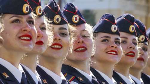 Interior ministry academy cadets march during the Victory Day military parade at Dvortsovaya (Palace) Square in St. Petersburg, Russia, Sunday, May 9, 2021, marking the 76th anniversary of the end of World War II in Europe. (AP Photo/Dmitri Lovetsky)