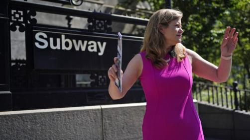 Mayoral hopeful Kathryn Garcia campaigns in the Brooklyn borough of New York, Tuesday, June 15, 2021. (AP Photo/Seth Wenig)